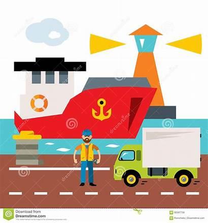 Port Cartoon Cargo Shipping Sea Illustration Ship
