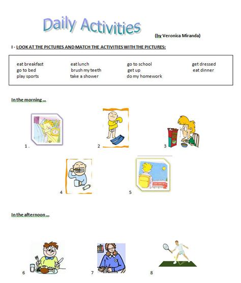 daily activities worksheet