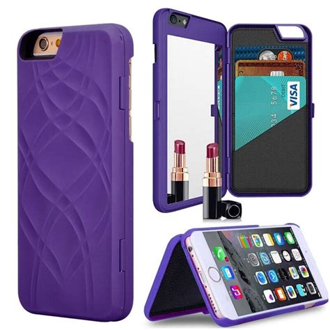 1) iphone 6s wallet case, iphone 6 leather case, lameeku protective wallet cover leather wallet case with credit card slot holder, case cover for apple iphone 6 / 6s 4.7inch. Mirror case for capinhas iphone 7 6 6s plus 5 5s Leather case credit card slots wallet PC hard ...