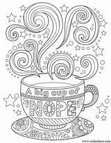 Coloring Cup Coffee Tea Nope Mandala Mandalas Colorear Adult Printable Sheets Therapy Zentangle Doodle Dibujar Frases Imprimir Colorir Erwachsene Oursweetserendipity sketch template
