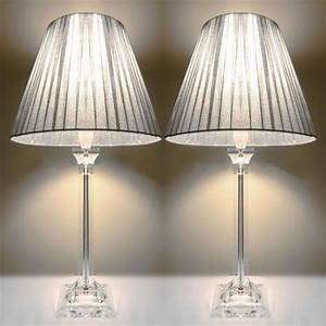 2x bedside table lamps silver shades buy home garden for Floor lamp under 20