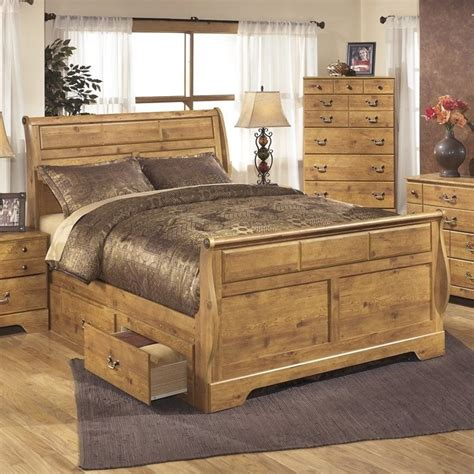 ashley bittersweet wood queen double drawer sleigh bed in