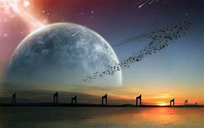Alien Planet Landscapes Landscape Stars Asteroids Bridge