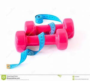 Pink Dumbbells And Blue Meter Royalty Free Stock Photo ...