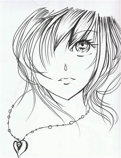 Anime Face Drawing Sketch Coloring Sad Drawings