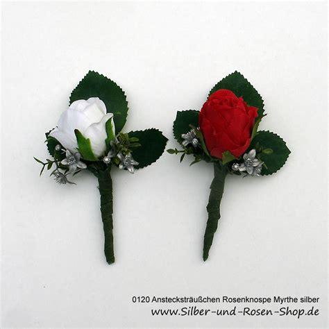 ansteckstraeusschen rose myrthe silbern aus seidenblumen