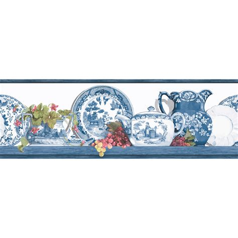 "Shop Allen + Roth 678"" Blue Willow Prepasted Wallpaper"