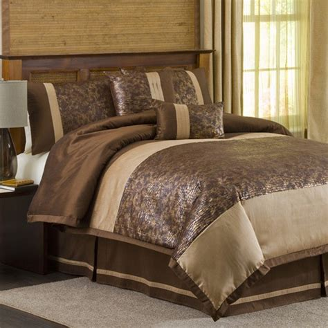 metallic animal 6 comforter set in brown gold