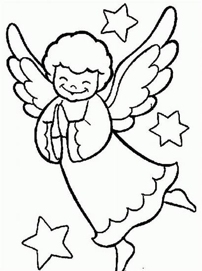 Christmas Praying Angel Coloring Drawing Cliparts Clip