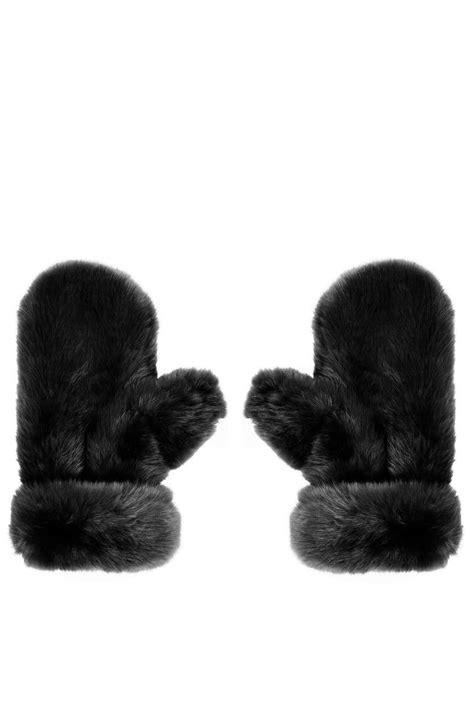 lyst topshop lux fur mitten  black