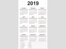 2019 Calendar MonSun – Free Printable 2018 Calendar