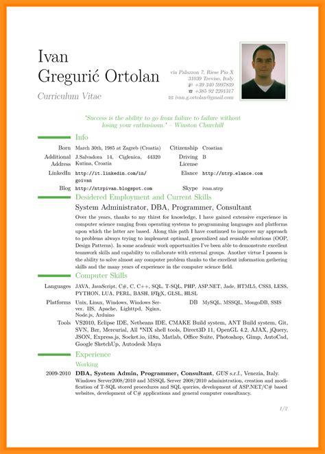 Curriculum Vitae In Pdf Format by 8 Cv Template Pdf Resume Setups