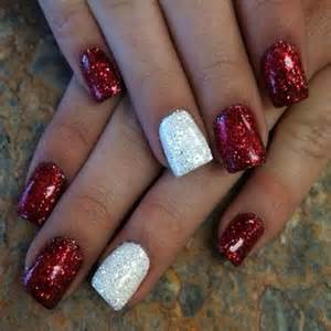Christmas nail art designs red base with silver polka