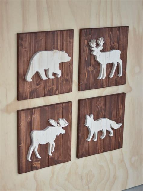 wood woodland animal plaque cutouts