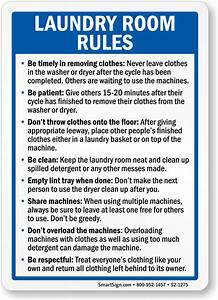 Laundry Room Rules Sign, SKU: S2-1275