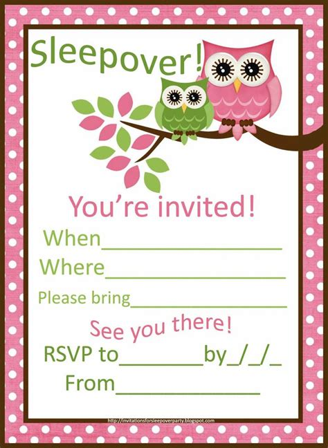 sleepover invitations for girls cute+pink+owls+sleepover