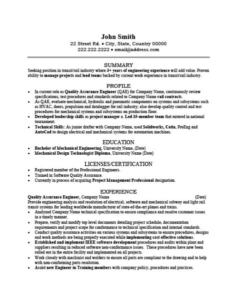 Qa Engineering Resume Template by Quality Assurance Engineer Resume Sle Template