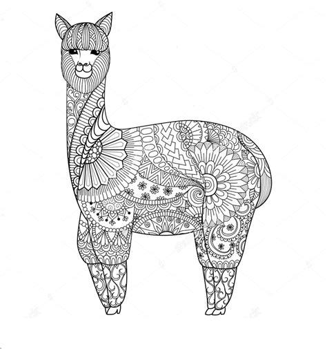 Zentangle Coloring Page Llama