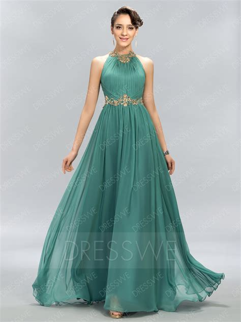 Unique Design Jewel Beading Floor Length A-Line Long Prom