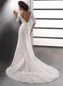 Sexy Mermaid V Neck Empire Ivory Vintage Lace Wedding ...