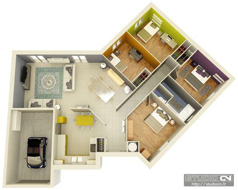 plan de chambre 3d maison contemporaine plain pied plan 140m2 maison moderne