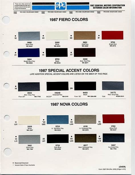 color chip selection auto color library autos post