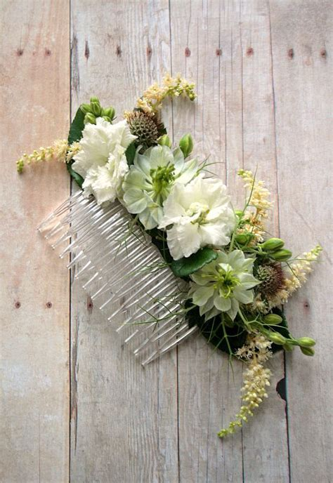 floral comb  wedding hair  rustic blooms