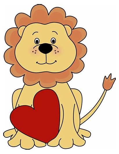 Lion Clipart Valentine Valentines Cliparts Clip Heart