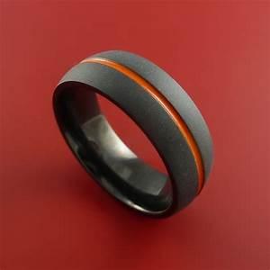 Black Zirconium Ring Traditional Style Band with Orange ...