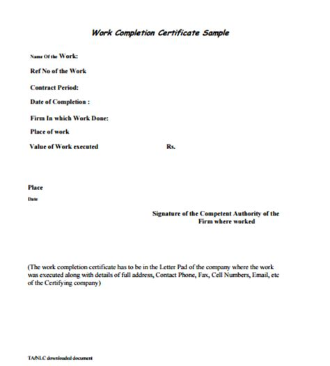 work completion certificate formats  word