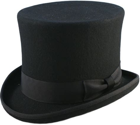 quality hand made black 6 quot high top hat topper hat wedding