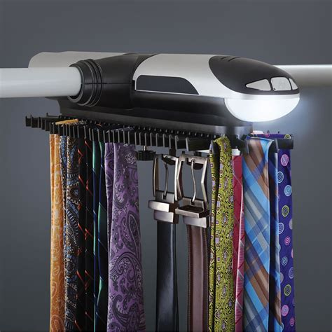 Tie Rack For Closet by The Motorized Tie Rack Hammacher Schlemmer