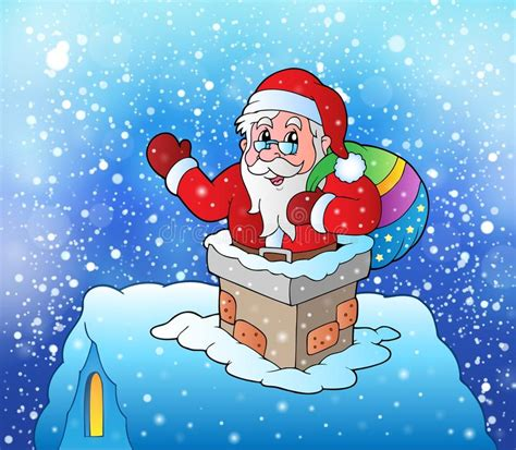Santa Claus In Snowy Weather By Clairev Santa Claus On Snowy Roof Stock Vector Image Of Weather