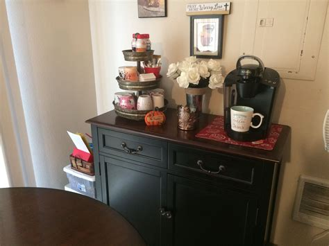 Home coffee bar's are not only fun and decorative but they're also a great way to save money. My coffee bar. I finally found a setup I like. Three tiered stand is galvanized metal from Hobby ...