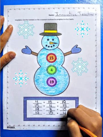 snowman fact family  prep worksheets  images