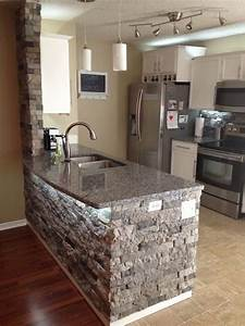 Airstone spring creek home pinterest stone island for Kitchen cabinets lowes with papier peint imitation pierre