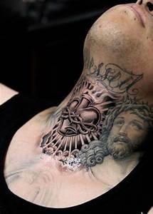 Sacred Heart And Jesus Head Catholic Tattoo On Neck
