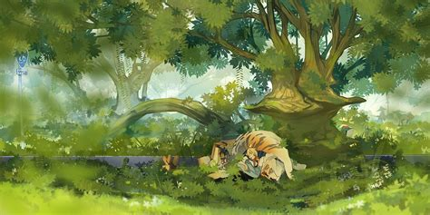Anime Illustration Wallpaper - wallpaper painting forest illustration anime jungle