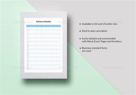 delivery schedule templates  docxls