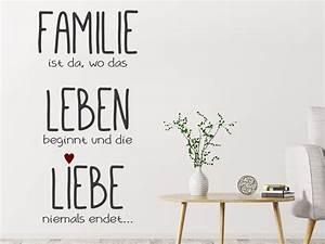 Wandtattoo Sprüche Familie : wandtattoo familie ist da wo das leben beginnt wandtattoo de ~ Frokenaadalensverden.com Haus und Dekorationen