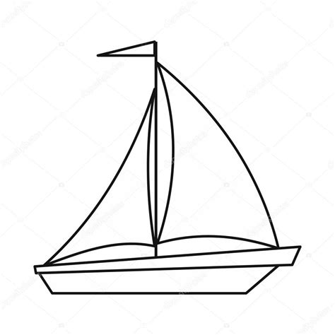 Boat Drawing Outline by Boat With Sails Icon Outline Style Stock Vector