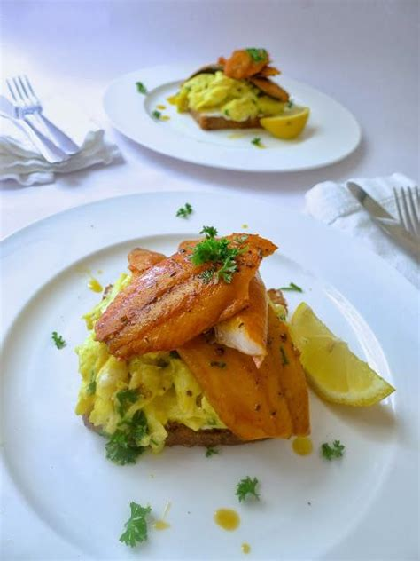 scramble cuisine smoked kippers with scramble eggs food