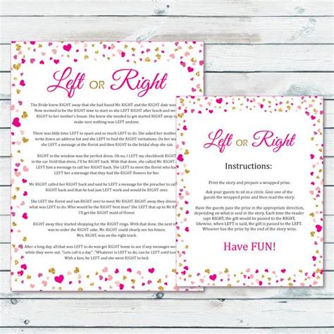 Left Right Bridal Shower by Left Or Right Bridal Shower Pass The Prize Bridal