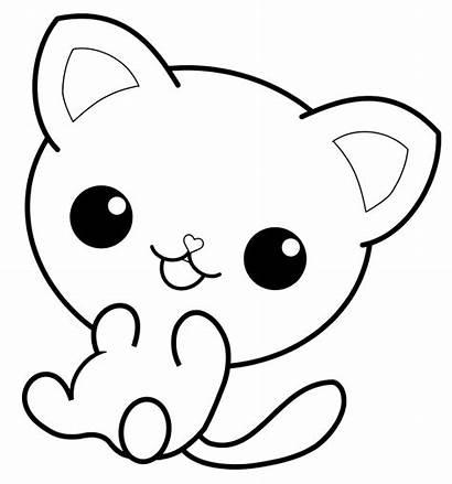 Coloring Cat Kitty Pusheen Kitten Kawaii Line