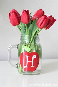 Teacher Gift Ideas - Monogram Mason Jar Vase {Free