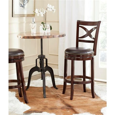 safavieh stool safavieh santino 29 in brown swivel cushioned bar