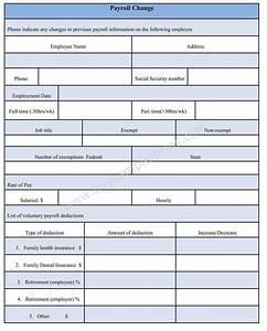 payroll change form word document payroll change form With payroll change form template free