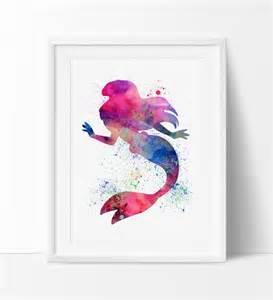Mermaid Baby Nursery by Ariel Disney Watercolor Wall Art Princess Watercolor