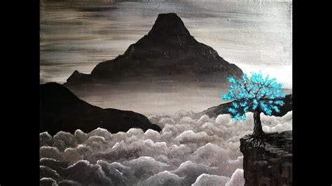 paysage de montagne dans la brume en noir et blanc peinture acrylique