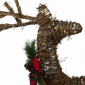 Northlight, 30, U0026quot, Lighted, Rattan, Reindeer, Red, Bow, Pine, Cones, Christmas, Yard, Decor